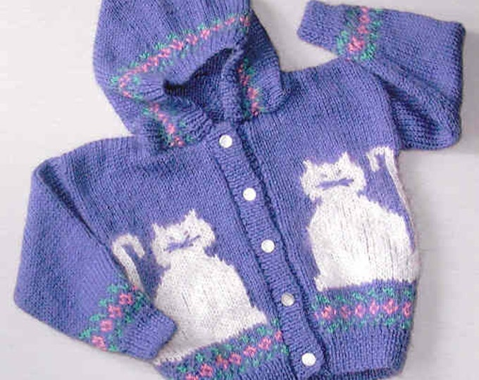 Country's Child 112  Pretty Kitties hooded cardigan knit worted weight sweater pattern sizes 4-12