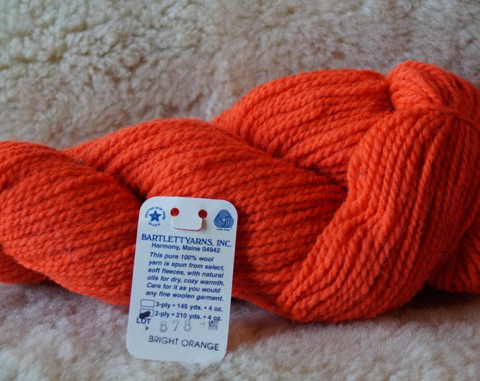 BRIGHT ORANGE worsted weight 2 ply wool Bartlettyarn clearance sale