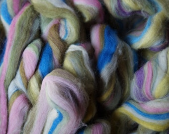 English Country Garden cotton and silk tie dyed roving for spinning