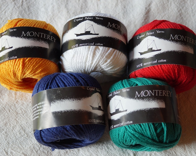 Monterey all cotton mercerized worsted weight yarn from Crystal Palace Yarns, free shipping offer