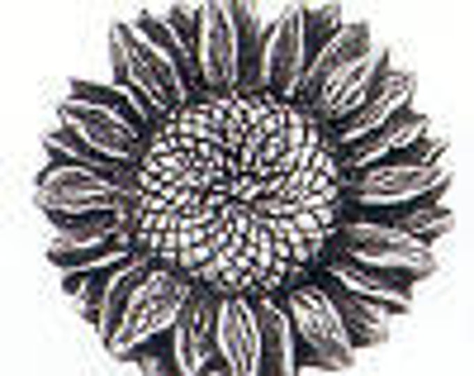Danforth Button: SUNFLOWER pewter  shank button