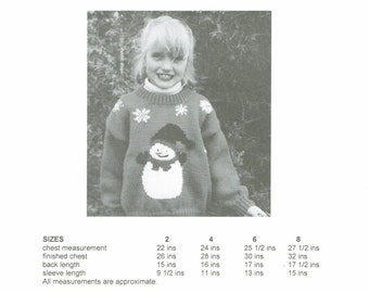 eweCanknit snowman childs sweater knitting pattern worsted weight yarn