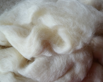 Wensleydale Wool top undyed natural white, 8 oz bag, free shipping offer