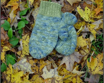 Kat's Patterns Two Needle Mitten Kniting Pattern Family Sizing digital