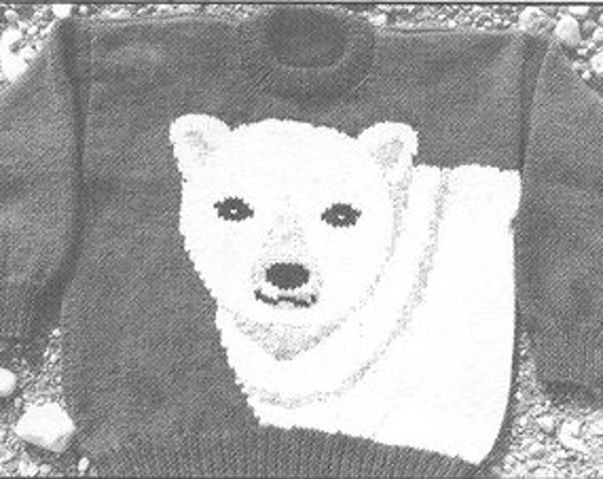 ewe Can knit 089 Polar Bear knitting pattern for youth sizes using worsted weight yarn