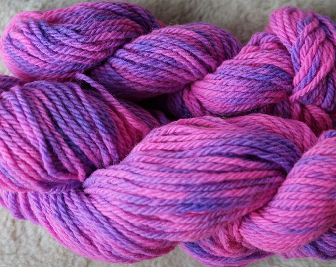Pink and Lavender bulky hand dyed soft wool yarn from our American farm, free USA shipping