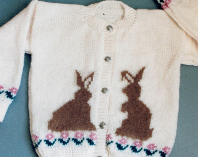 Country's Child 110 bunny cardigan Quiet Visitors for kids sizes 4-10 worsted yarn