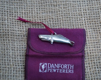 Whale ornament Danforth pewter Christmas ornament. Made in the USA.