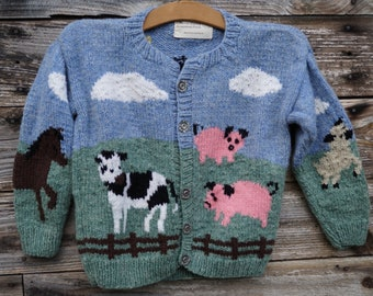 childs barnyard hand knit wool cardigan with pewter buttons hand knit made in the USA of American wool