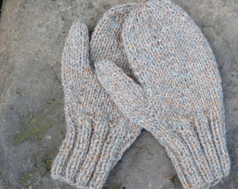 Hand knit peach and gray wool and mohair mittens lg child or small ladies