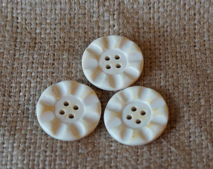 Horn Button:  Flower button cream color