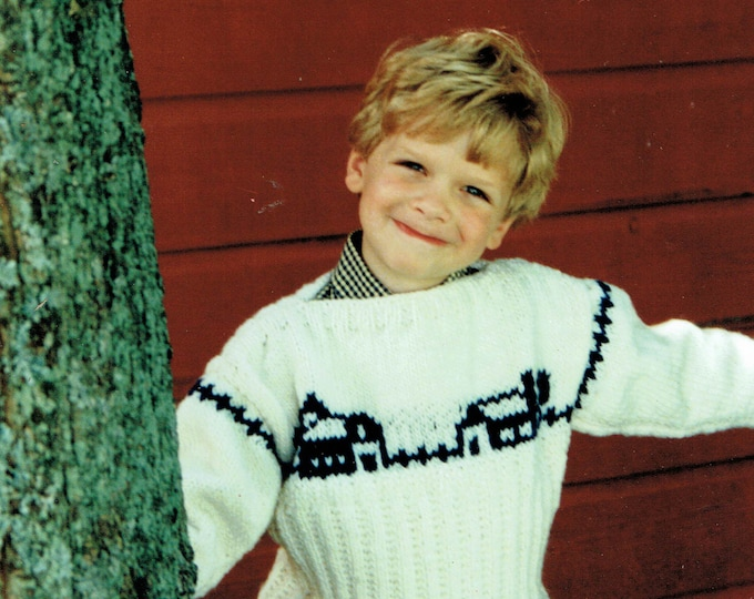 Country's Child Pattern 105 Farm Silhouette child's boat neck pullover knitting pattern