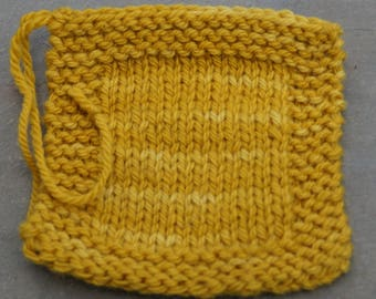 Mustard farm raised yarn 3 ply kettle dyed worsted weight wool yarn from our USA farm.