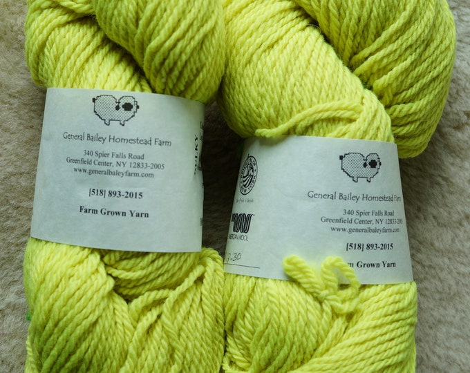 Neon Yellow bulky 3 ply soft wool yarn from our American farm, free shipping