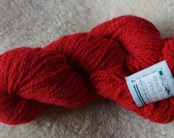 Peace Fleece Ukranian Red  wool and mohair 2 ply worsted weigh yarn
