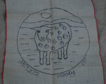 Hooked rug stamped canvas: wooly sheep seat cover round on burlap free shipping offer