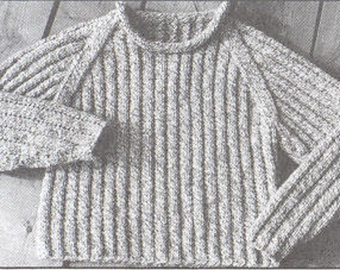eweCanknit The Ragglan youth size pullover easy to knit pattern worsted weight yarn