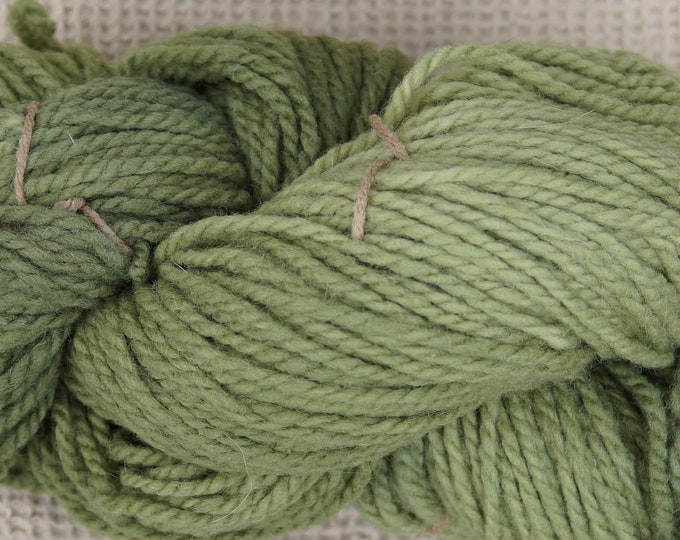 Shaded Olive bulky 2 ply wool yarn from our USA farm, free shipping offer
