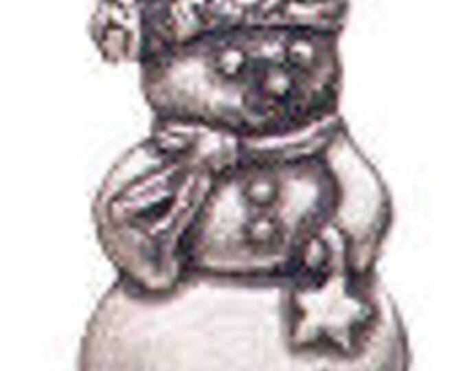 Danforth Button: Snowman pewter shank  button