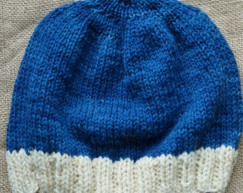 Hat adult  hand knit from hand dyed wool  farm yarn from our USA farm