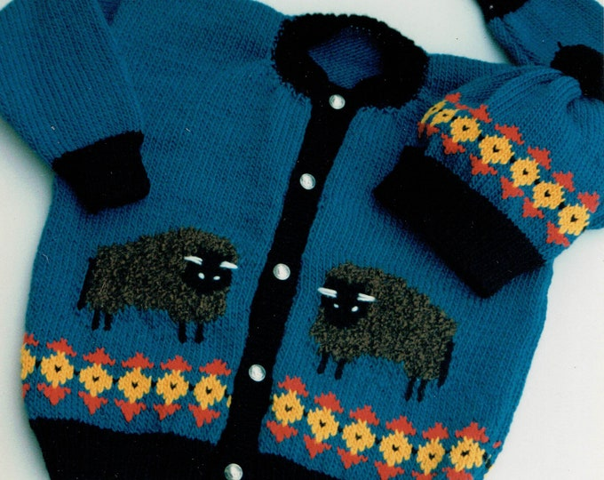 Countrys Child pattern 109 buffalos Bill and Bob kids cardigan sizes 4-12
