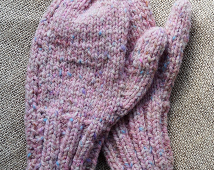 Wool mittens hand knit pink tweed lg child or sm ladies size made on our USA farm