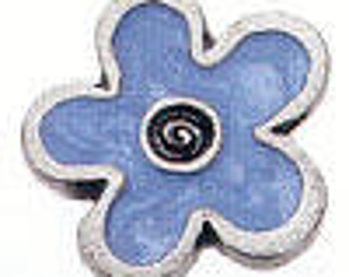 Danforth Button: BLUE FLOWER enamel pewter shank button