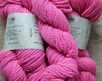 Neon Pink bulky soft wool hand dyed 2 ply yarn from our American farm, free USA shipping offer