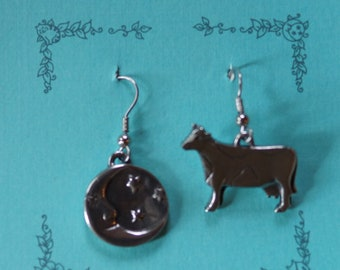 Danforth Cow and Moon wire earrings made in the USA