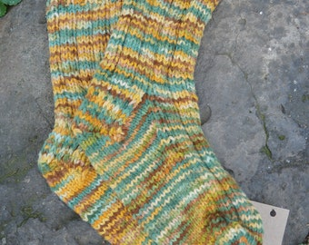 Autumn Spice Hand knit socks using hand dyed yarn from our American Farm