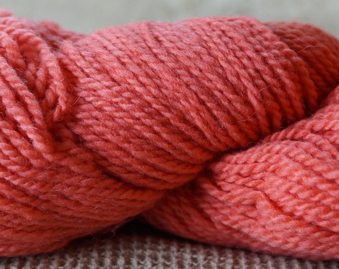 Coral hand dyed 2 ply worsted weight soft wool yarn from our American farm Free Shipping