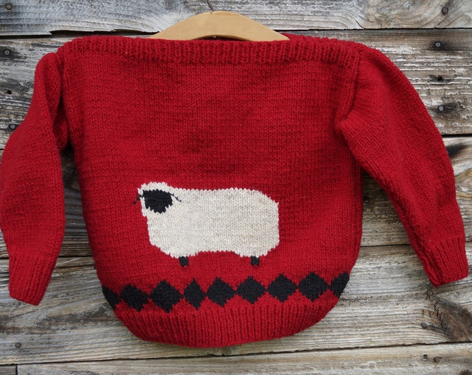 Childs Folk Sheep wool handknit sweater, American wool, made in the USA free shipping