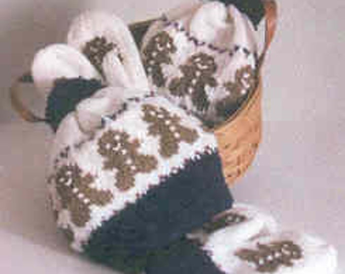 Country's Child Gingerbread Dance Hat & Mitten two needle easy knit pattern kids to adult