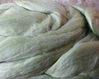 GLACIAL GREEN silk & wool roving from Louet for spinning or felting