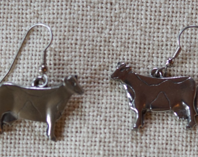 Danforth Cow dangle wire pewter earrings, made in the USA