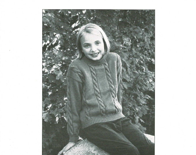 Cabled pullover childs knitting pattern DK weight from eweCanknit sizes 1 to10