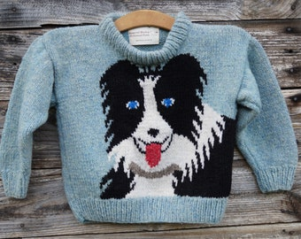 Border Collie childs handknit wool pullover sweater, American Wool, made in the USA, free shipping