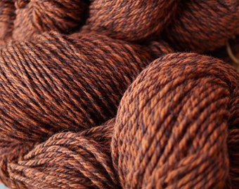 Rusty Tweed wool 3 ply worsted weight yarn from our American farm free shipping offer