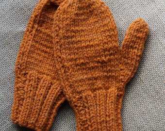 Wool hand knit mittens large childs knit and kettle dyed on our farm with our farm yarn