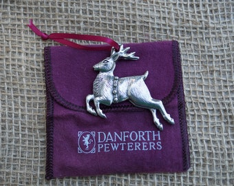 Reindeer Christmas Ornament pewter from Danforth. Made in the USA.