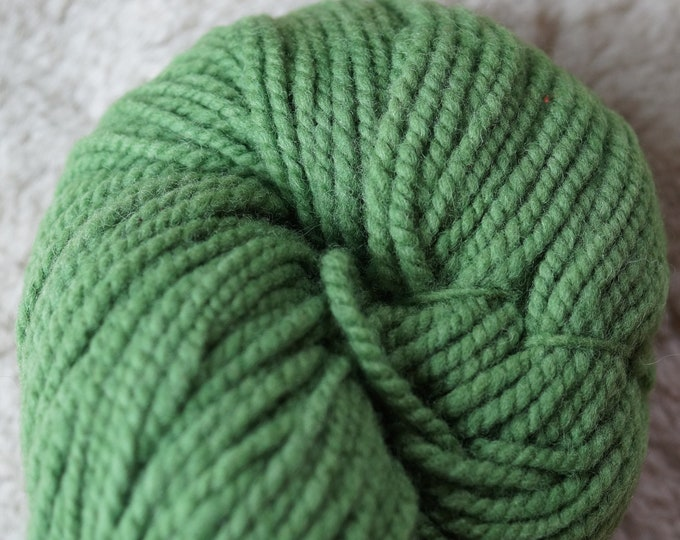 Spring Green bulky soft wool yarn from our American farm, free USA shipping
