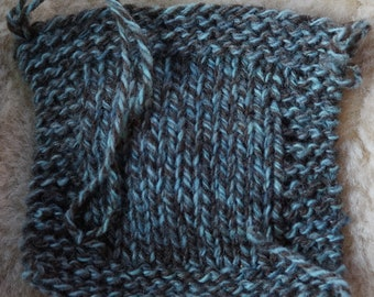 Blue Ragg 3 ply worsted soft wool yarn kettle dyed, made in the USA on our small farm, free shipping