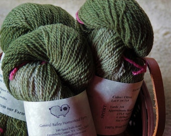 Olive  sport weight 2 ply wool yarn from our American farm free shipping offer