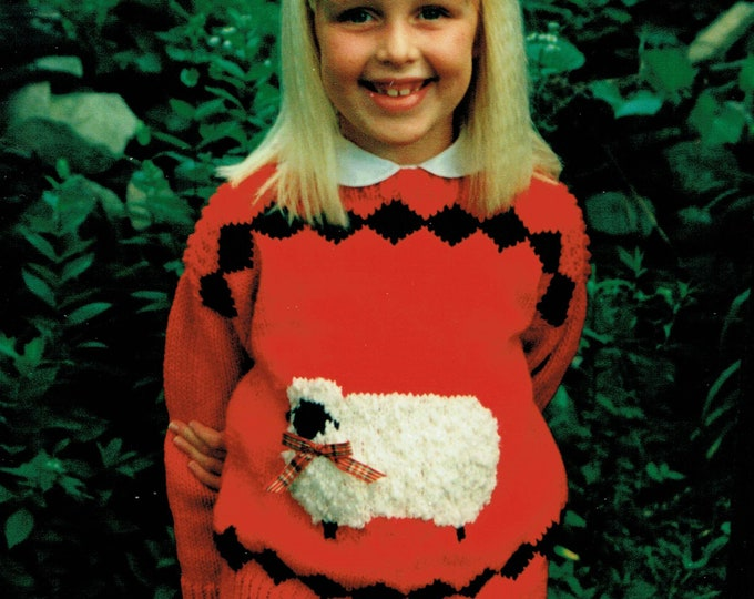 Country's Child Pattern 102 Bonnie Jean child's easy knit boat neck sweater