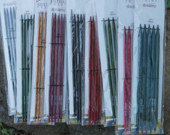 5 inch double point Knitters Pride Dreamz colored wood knitting needles. FREE SHIPPING.