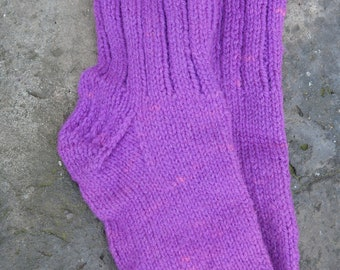Lily ladies wool hand knit hand dyed socks from our wool farm