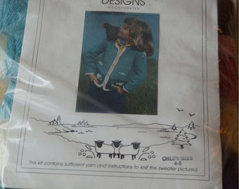 Knitting: Sweater Kit childs size 4-8 cotton & wool from North Islands Designs, free shipping