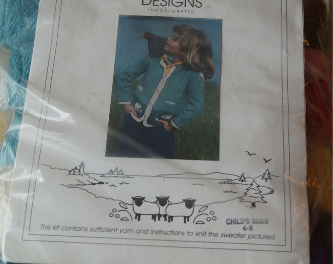 Knitting: Sweater Kit childs size 4-8 cotton & wool from North Islands Designs