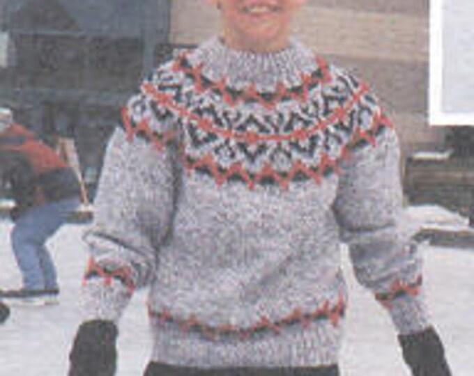 eweCanknit Coltin's Fairisle pattern child's sizes 2-12 uses chunky yarn
