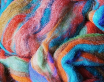 Sandpainting Cotton and Silk  tie dye roving for spinning